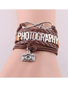 Кожаный браслет коричневый